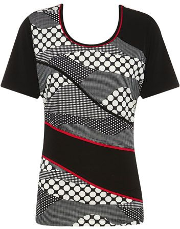 NONI B Print And Plain Jersey Top $59.95 AUD  Round neck print jersey top with side splits 94% Polyester 6% Elastane  Item Code: 047171