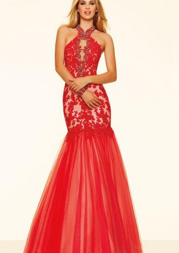 Cheap and Australia 2016 Ruby Mermaid Halter Neckline Beaded Lace Tulle Floor Length Evening Dress/ Prom Dresses 98050 from Dresses4Australia.com.au