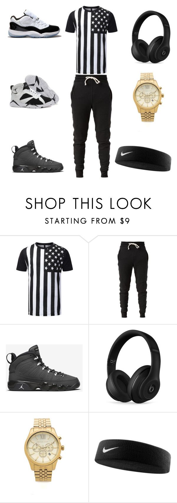 """all american"" by aleisharodriguez ❤ liked on Polyvore featuring John Elliott, Concord, Beats by Dr. Dre, Michael Kors, NIKE, men's fashion and menswear"