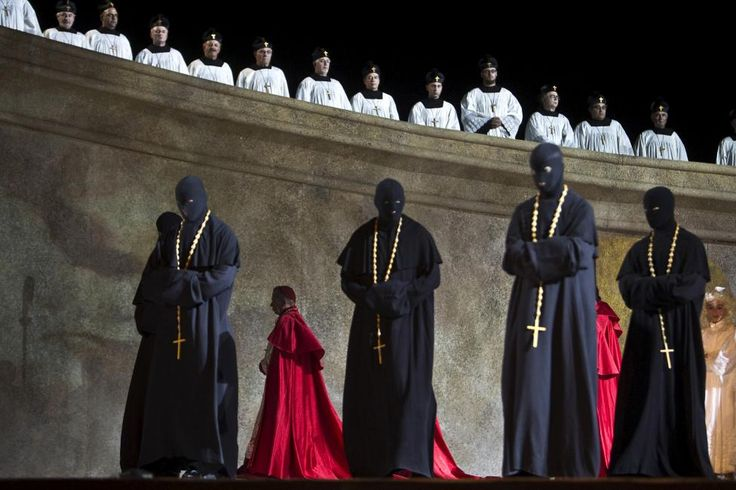 Costumed performers take part in a dress rehearsal for Giacomo Puccini's Tosca ahead of the Israeli Opera Festival at Masada, June 1, 2015. According to the ancient historian Josephus, Masada was the site of a Roman siege that ended in 73 AD when hundreds of Jewish rebels committed mass suicide rather than fall as slaves to the Romans. Built by King Herod as a winter palace between 37-31 BC, Masada is a UNESCO World Heritage site...