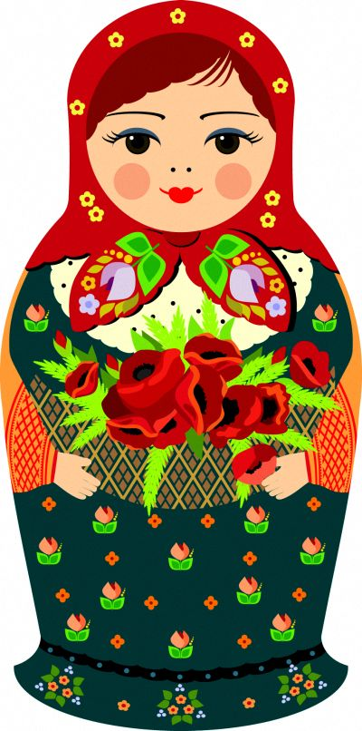 Matryoshka - Russian nesting doll. Vector clipart. #folk #art #Russian #dolls