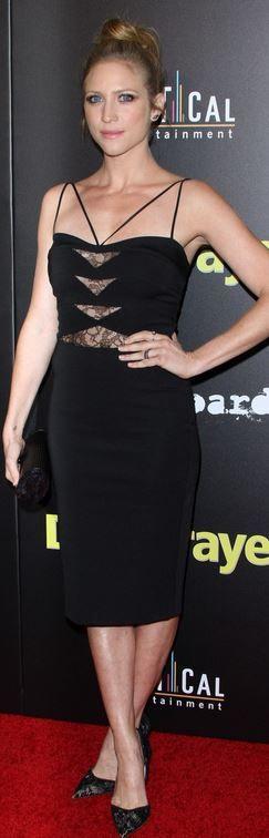 Brittany Snow: Dress – Noam Hanoch  Shoes – Kurt Geiger  Purse – Edie Parker  Jewelry – David Yurman