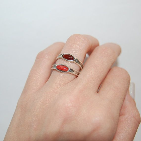 Red coral ring Carnelian ring Mix and match rings Boho by kreitto