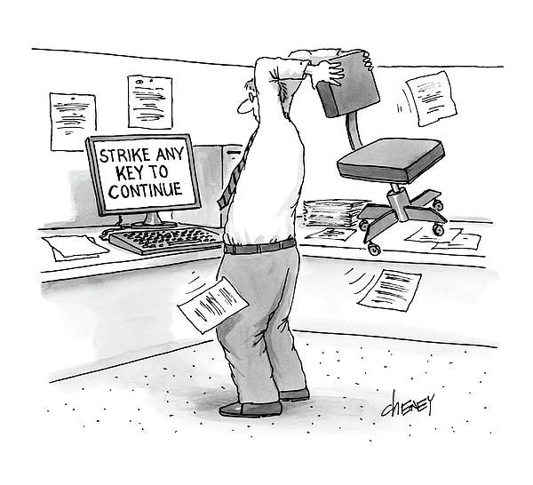 A Man In An Office Cubicle Holds A Chair By Tom Cheney In 2020 New Yorker Cartoons Nerd Jokes Funny Cartoons