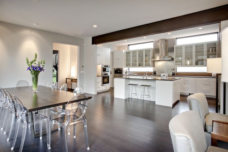 rho architects, kitchen, clear chairs, wood dining table ...