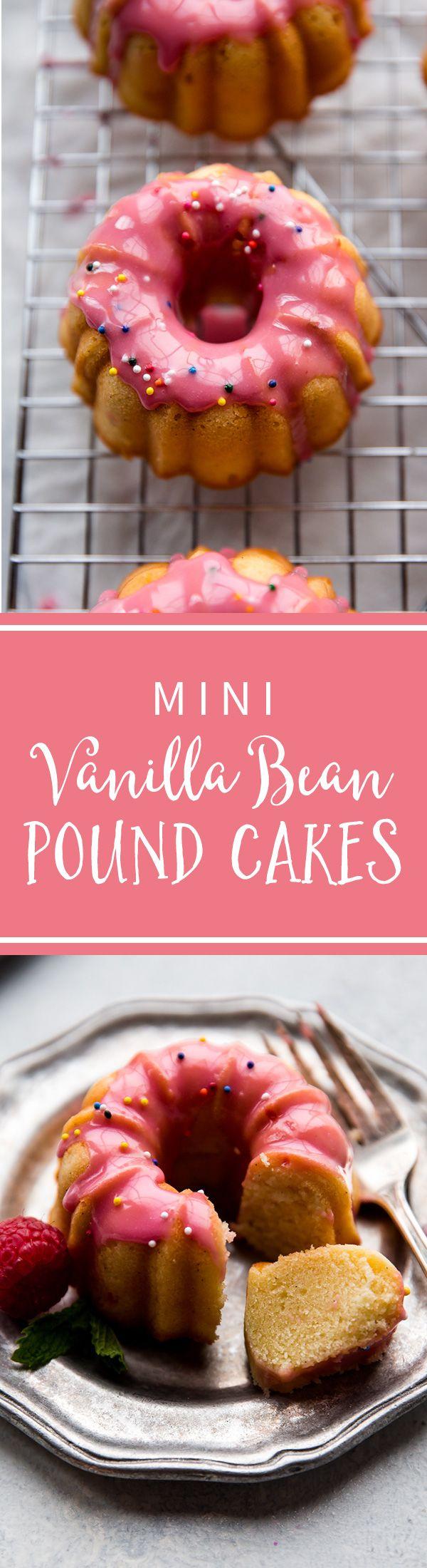 Mini vanilla pound cakes topped with sweet raspberry icing, made from fresh raspberries! Mini bundt cake recipe on sallysbakingaddiction.com