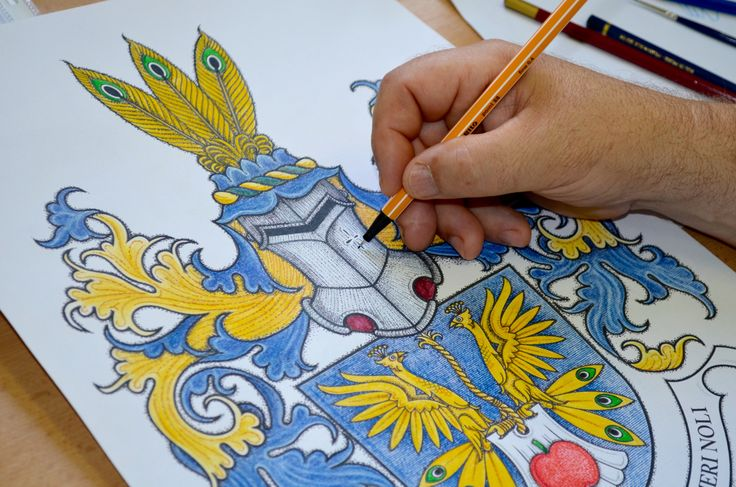 Mr Velebny is drawing the family heraldry for Mr Blaha from Czech Republic. Since 1992, our company includes a heraldic office in the head with a respected heraldist and artist Zdenek Velebny. He is an author of over 150 municipal emblems, family coats of arms and other heraldic symbols.