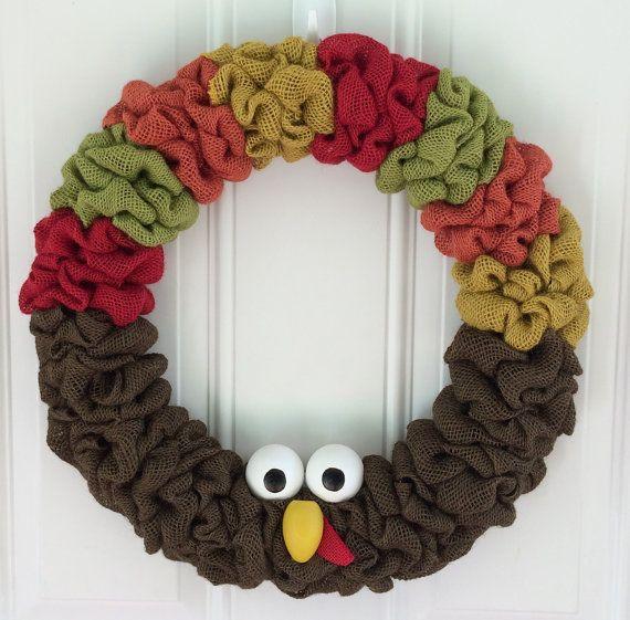Almost cant handle how cute this is....Turkey burlap wreath Turkey wreath Fall wreath by TheCraftinBear