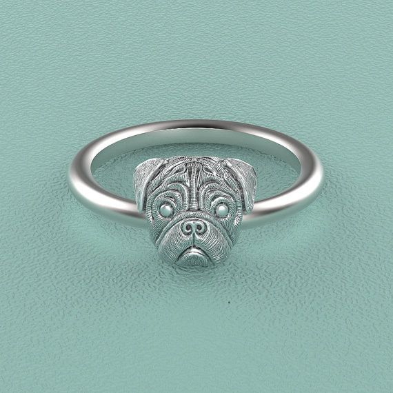 PUG Breed Jewelry Puppy Face Ring
