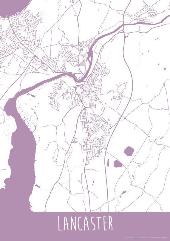Lancaster City England Art Map Roads Print  Your by ILLAstudio