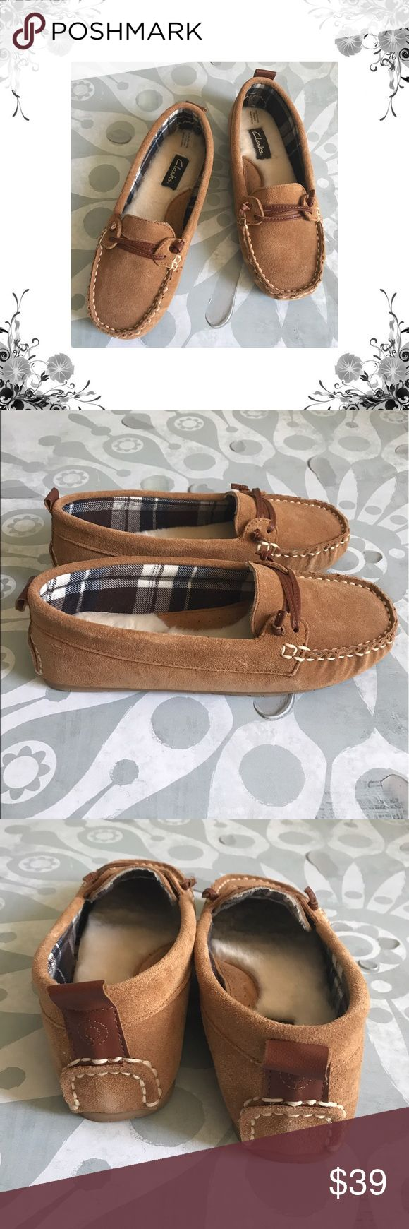 """Clark's Tan Suede Faux Fur Moccasins Manufacturer Color is Cinnamon. New with box. Loafers/Moccasins. Heel Height is approx 1/2"""". Platform Height is approx 1/4"""". Slip On. Leather/Faux Fur material. Suede fabric. Faux Fur Lined. Bundle for discounts! Thank you for shopping my closet! Clarks Shoes Moccasins"""