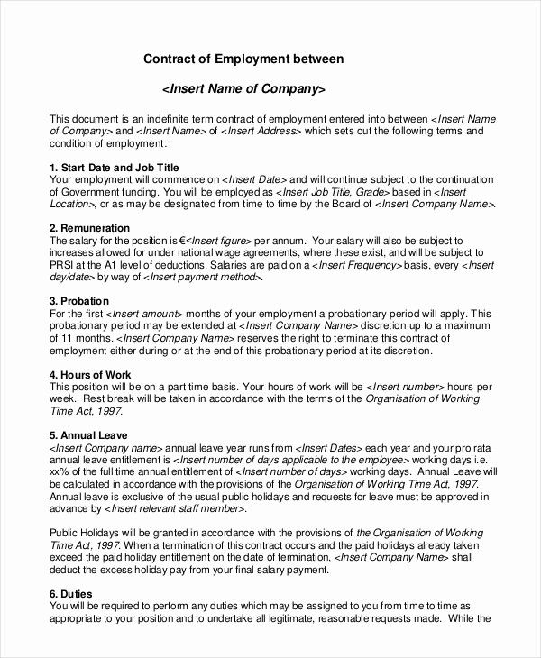 Unique Employment Contract Template 15 Free Sample Example Contract Template Teacher Resume Template Templates