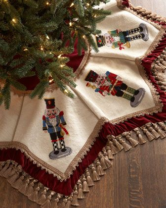 """#ONLYATNM Only Here. Only Ours. Exclusively for You. Handcrafted Christmas tree skirt. Wool needlepoint with rayon trim. 52""""Dia. Dry clean. Imported."""