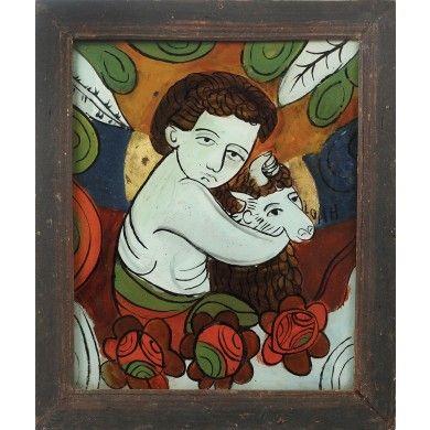 Icoană pe sticlă reprezentându-L pe Sfântul Ioan Botezătorul cu mioara, atelier transilvănean, începutul sec. XX
