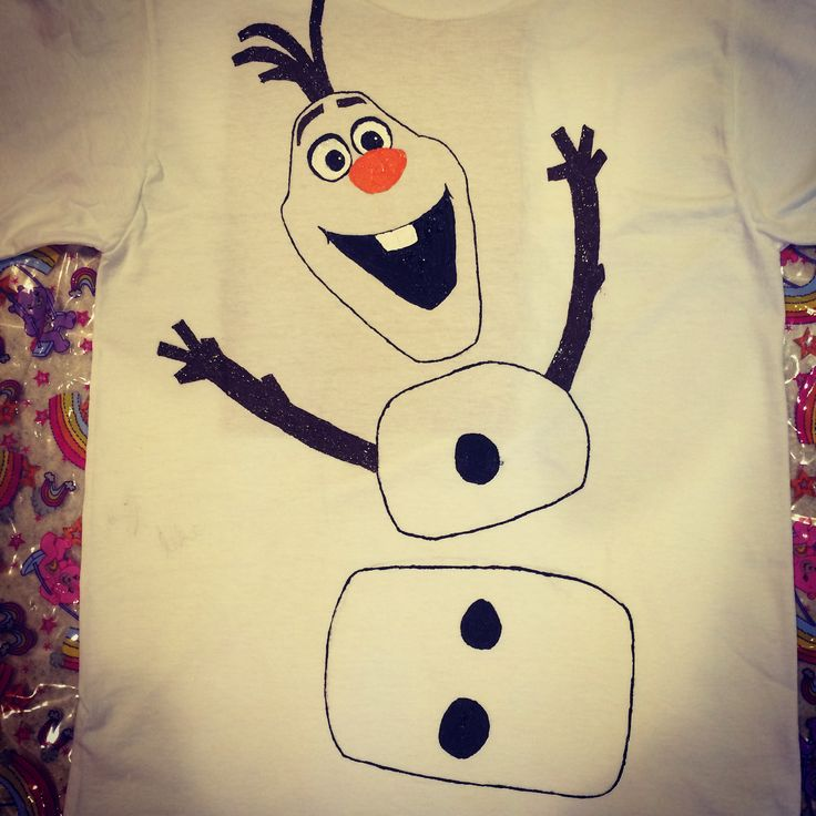 Olaf shirt i just made puffy paint a white t shirt and Puffy paint shirt designs