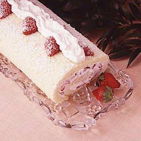 Strawberry Cream Cake Roll Recipe | Taste of Home Recipes
