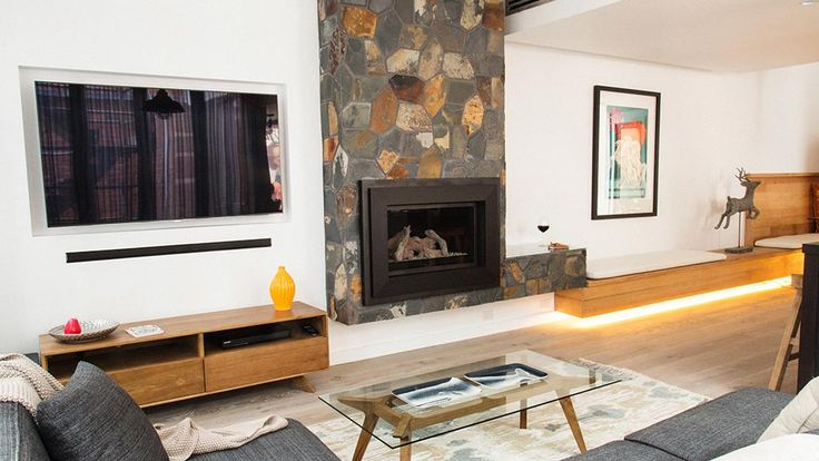 Chantelle + Steve's living and dining | The Block Fans v Faves | Jump-in Love the low bench seating and the glass topped stone surface