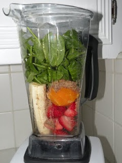 Ingredients:  1 banana  2 small oranges or 1 large  1 cup fresh strawberries  2 large handfuls of spinach  3 TBSP flaxseed  1 TBSP chai seed  6 cubes of ice  1/3 cup of coconut water (or juice if you need more disguising!)    Directions:  Dump all the ingredients into your Vitamix or blender and blend!