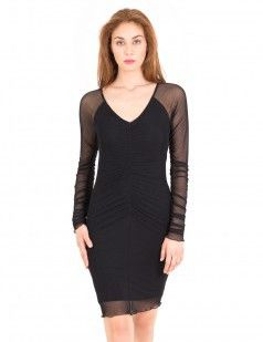 Black mesh bodycon dress with ruching details -34 euros