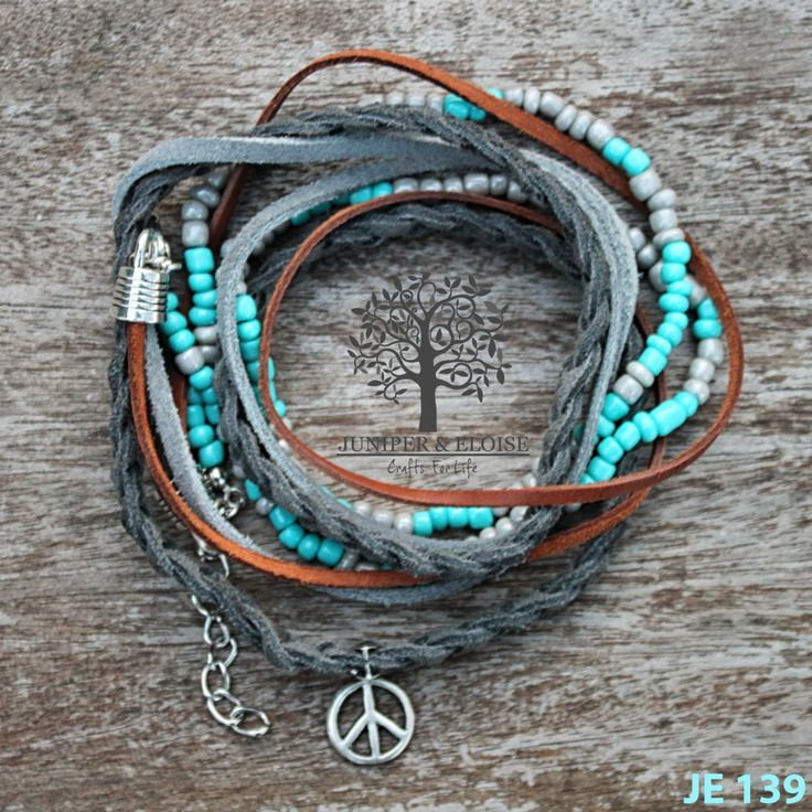 BOHO Bracelet , Dark Gray Braided Leather, gray and brown leather cords ,Turquoise - Gray Beaded Bracelet , Bracelet For Women , Boho Women by JUNIPERANDELOISE on Etsy