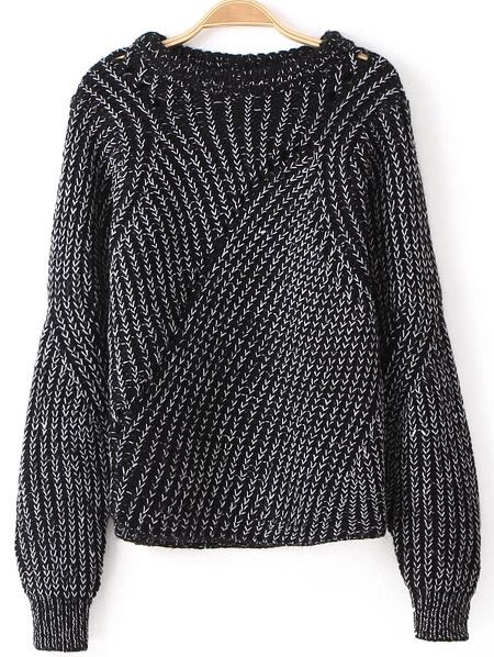 Black Long Sleeve Hollow Knit Loose Sweater 28.33 good sleeve!