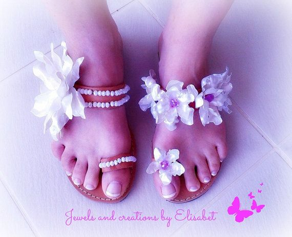 Bridal leather sandals by JewelsbyElisabet on Etsy, $115.00 #leathersandals
