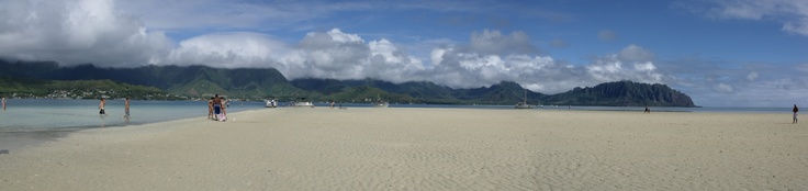 from the sandbar looking back:  Kaneohe, Hawaii