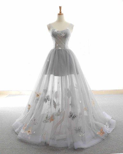 Cute Tulle Lace Prom Dress, Long Evening Gowns,Gray Tulle Sparkly Long Customize Prom Dress, Animals Embroidery Applique , Floor Length Evening Dress ,2018 New Fashion 1