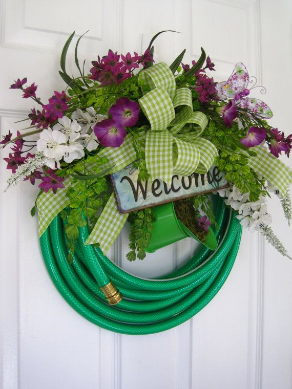 GARDEN HOSE WREATH- Purple Flowers- Welcome- Sign- Watering Can- Free Shipping