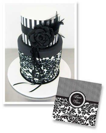 Elegantes pasteles de boda en blanco y negro | Fiesta101