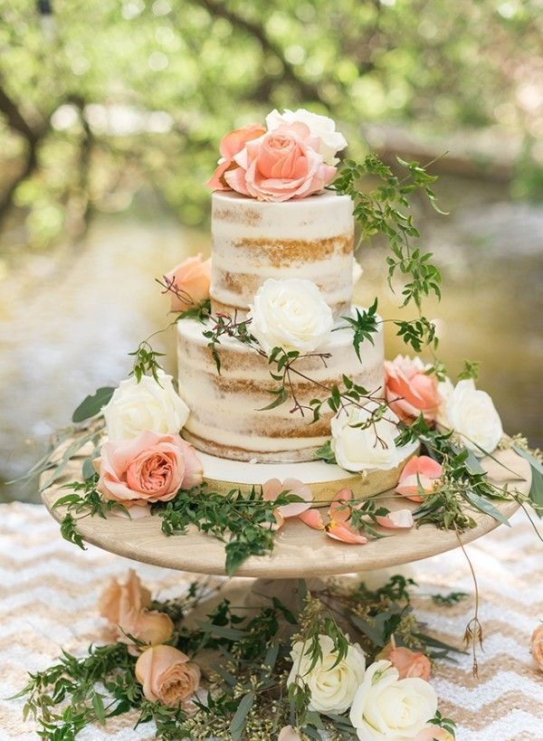 Lovely Floral Chic Outdoor Baby Shower Cake