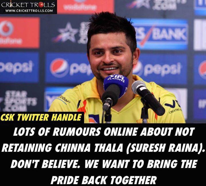 Chennai Super Kings Twitter handle quashes reports of not retaining Suresh Raina in the IPL - Indian Premier League 2018 - http://ift.tt/1ZZ3e4d