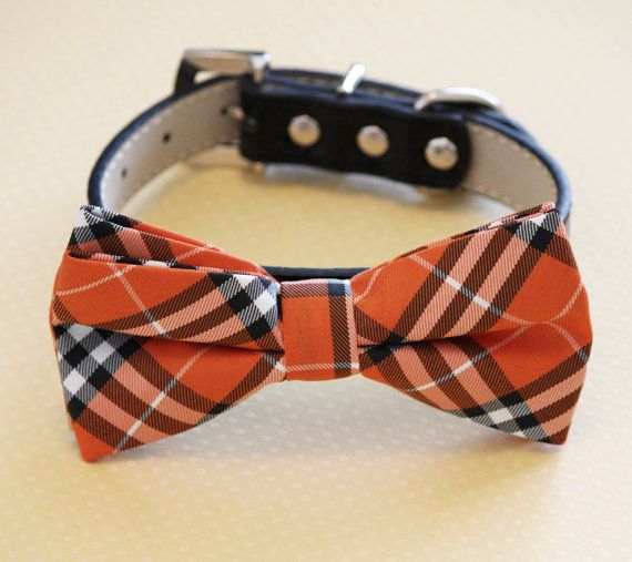 Plaid Orange and Black Dog Bow tie- High Quality Black Leather and Fabric  Cute Dog Bow tie, Chic Dog Bow tie