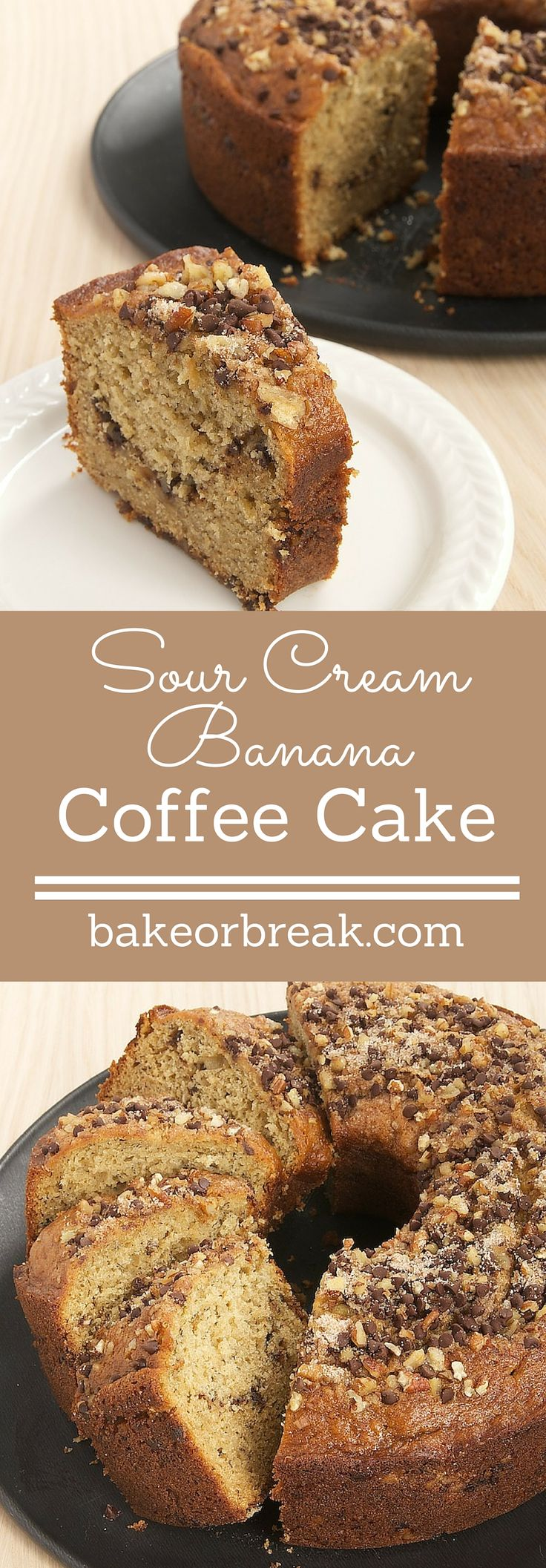 Sour Cream Banana Coffee Cake is a delicious and delicate banana cake with a swirl of chocolate, nuts, and cinnamon. - Bake or Break ~ http://www.bakeorbreak.com