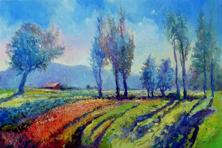 "Original art for sale at UGallery.com | Morning (Poplars) by Suren Nersisyan | $1,750 | oil painting | 24"" h x 36"" w 
