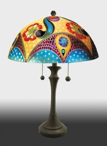 Picture of Hali Reverse Table Lamp | Hand painted stained glass. Colorful rainbow.