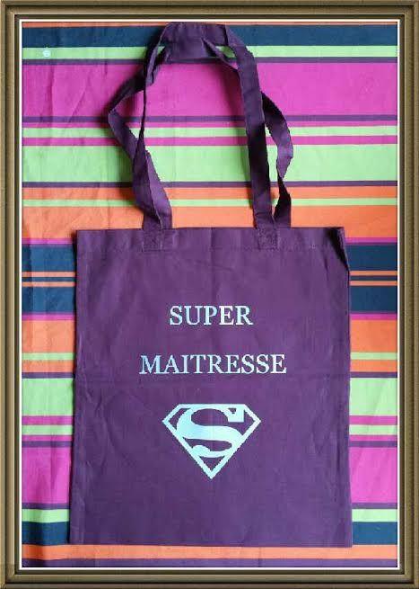 "Sac personnalisé ""super maîtresse"""