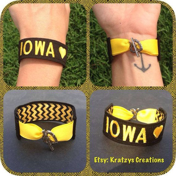 Iowa Hawkeyes Bracelet on Etsy, $18.00