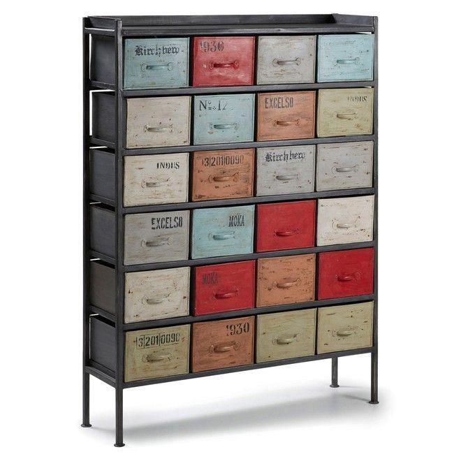 Cassettiera 24 cassetti ferro multicolor