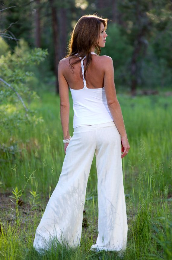 Low Rise White Linen Extra Wide Leg Pants by SarahReneeDesigns, $125.00