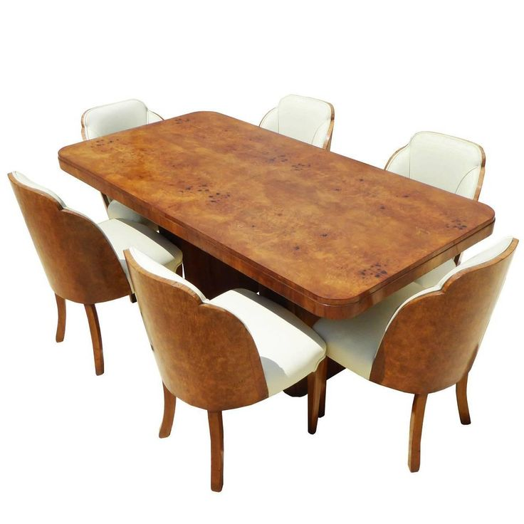 20th Century Art Deco Burr Walnut Dining Suite by H
