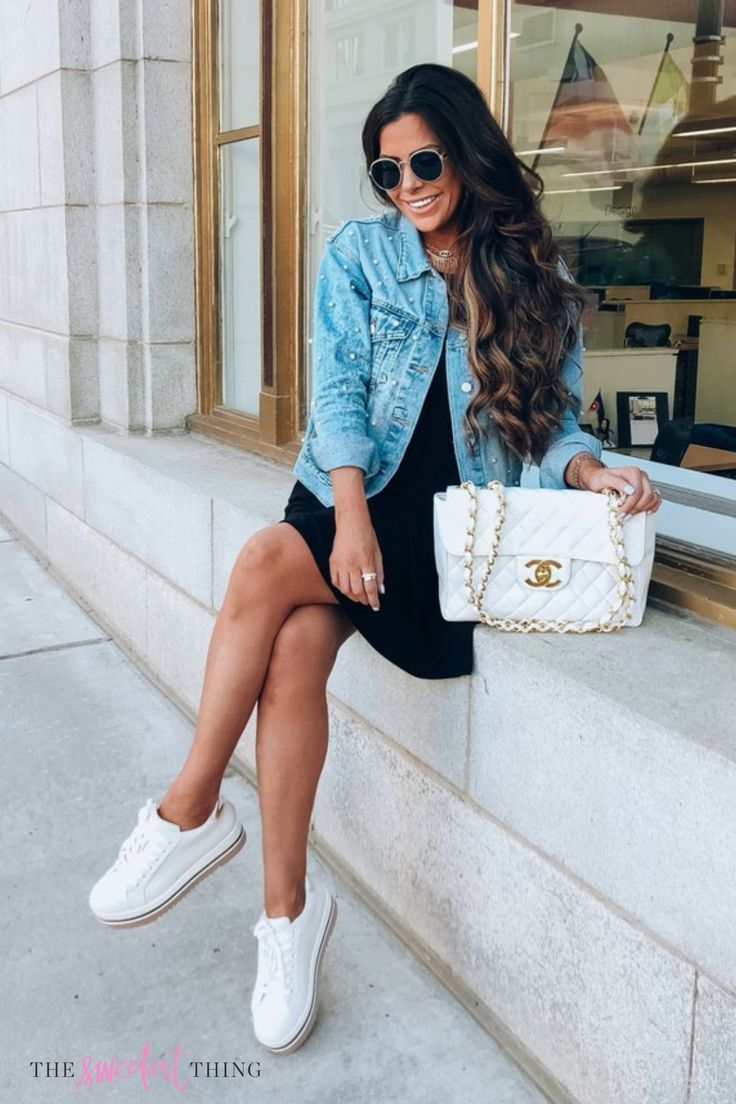 Emily Gemma Outfit For Summer And Spring Days Short Little Black Dress Denim Jacket White Sneakers Casual Summer Outfits Popular Outfits Cool Summer Outfits [ 1104 x 736 Pixel ]