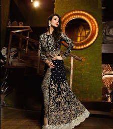 Buy black georgette Embroidered semi stitiched salwar with dupatta pakistani-salwar-kameez online