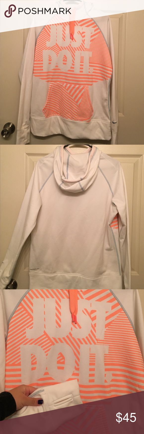 "Women's Nike Sweatshirt ✔️✨ | Women's Nike Sweatshirt | Super cute, never worn sweatshirt. White with bright orange ""Just Do It"" design on front. Kangaroo pouch pocket. Sleeves both have thumb holes. Very soft and comes with a hood. No defects of any sort! If you have any questions at all just let me know!  Nike Jackets & Coats"
