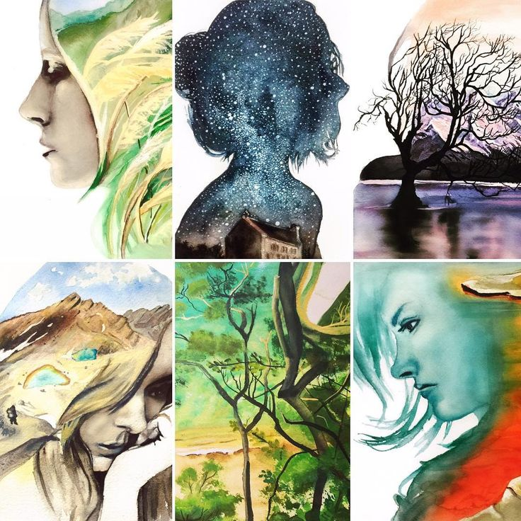 "Josy92 auf Instagram: ""#art#watercolor#watercolorpainting#painting#newzealand#woman#silhouettes"""