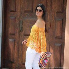Blusa Volada de Encaje a Crochet