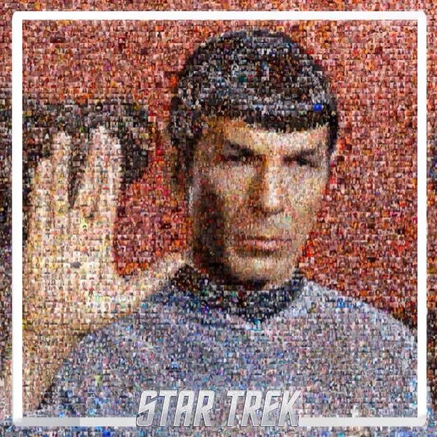 William Shatner's tribute to Leonard Nimoy: thousands and thousands of selfies of fans doing the Vulcan salute, made into a mosaic of Spock. I'm in it! Right below where the index and middle fingers meet!
