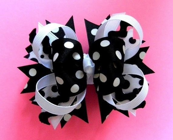 Large black and whtie polka dot hair bow