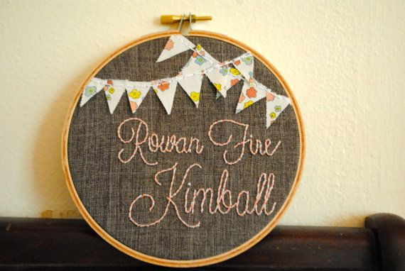 Custom Baby Name Embroidery Hoop on Etsy, $25.00
