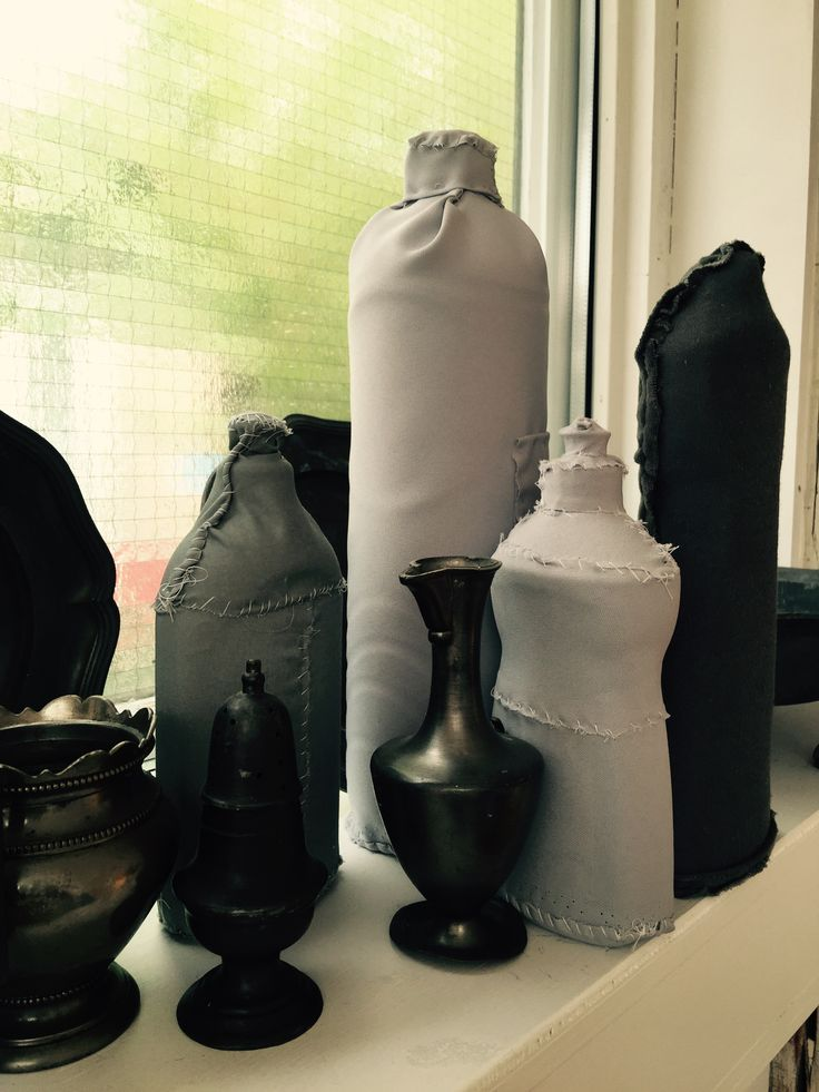 Baetenmaes art, still life with textile covered used plastic bottles